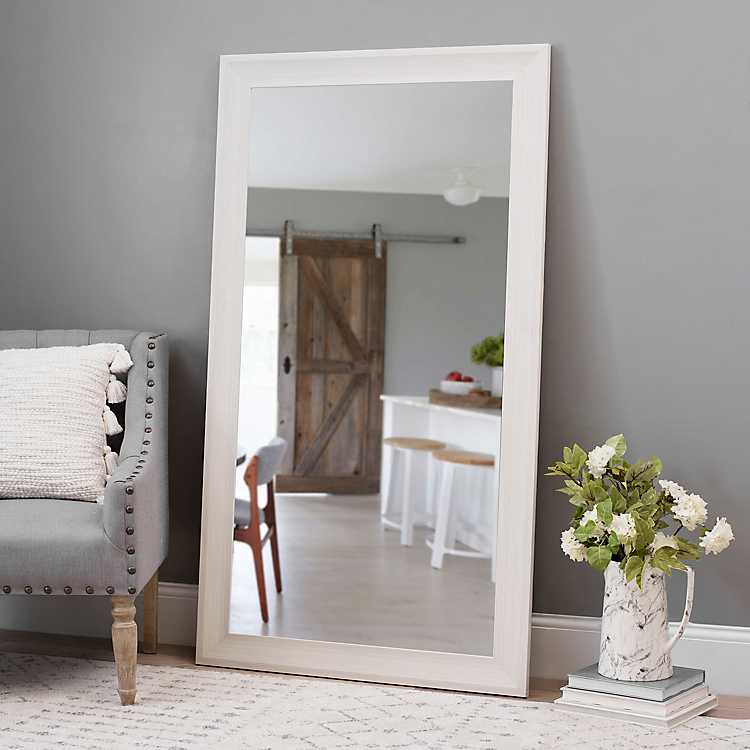 White Wood Grain Framed Mirror 37 5x67 5 In Kirklands