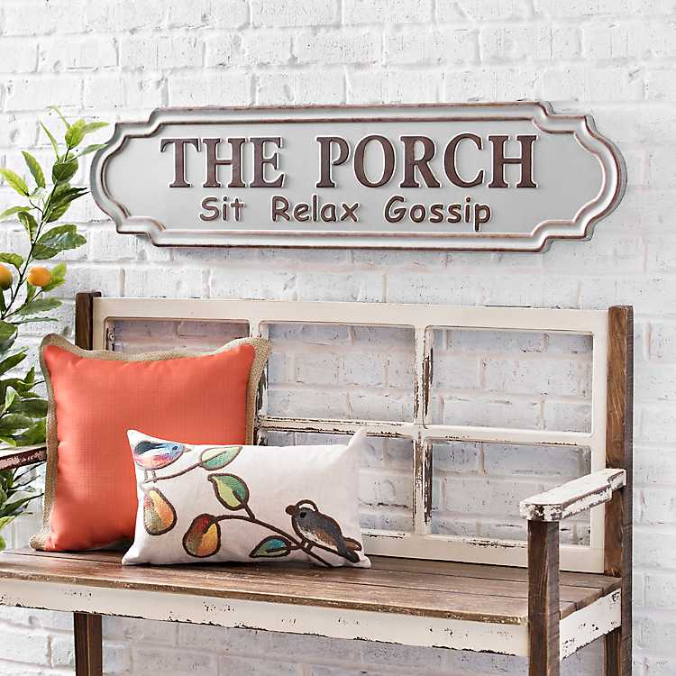 how to style your sofa using throw pillows simply grove.htm galvanized metal porch plaque kirklands  galvanized metal porch plaque kirklands