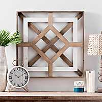 Two-Tone Square Geometric Wood Wall Plaque