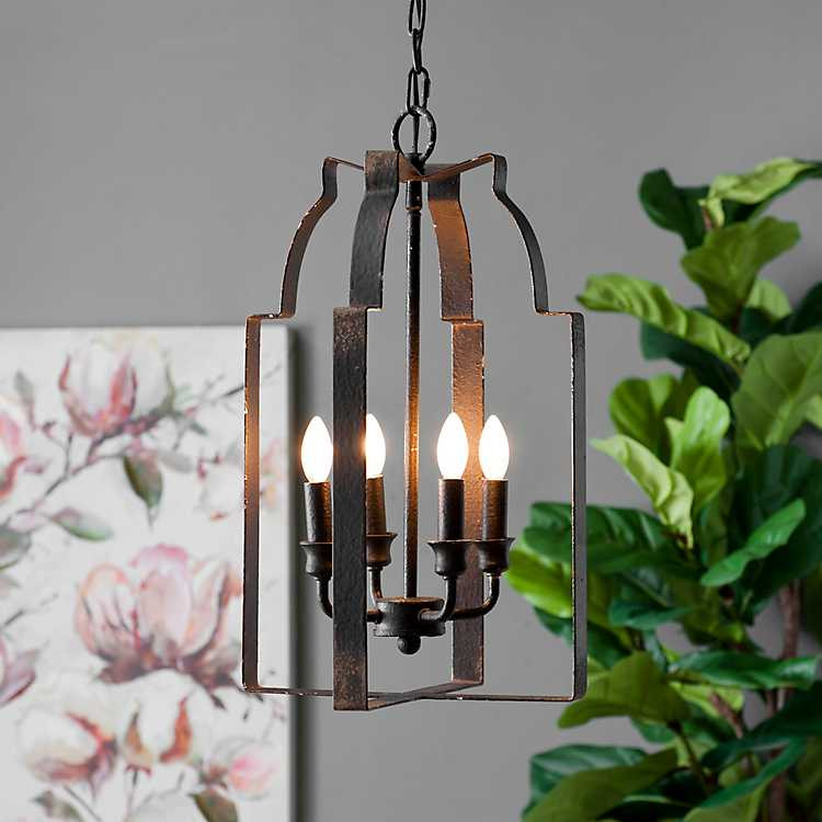 Distressed Black Lantern Pendant Light