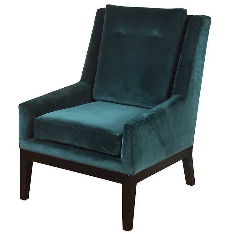 Superb Teal Blue Velvet Mid Century Modern Accent Chair Pabps2019 Chair Design Images Pabps2019Com