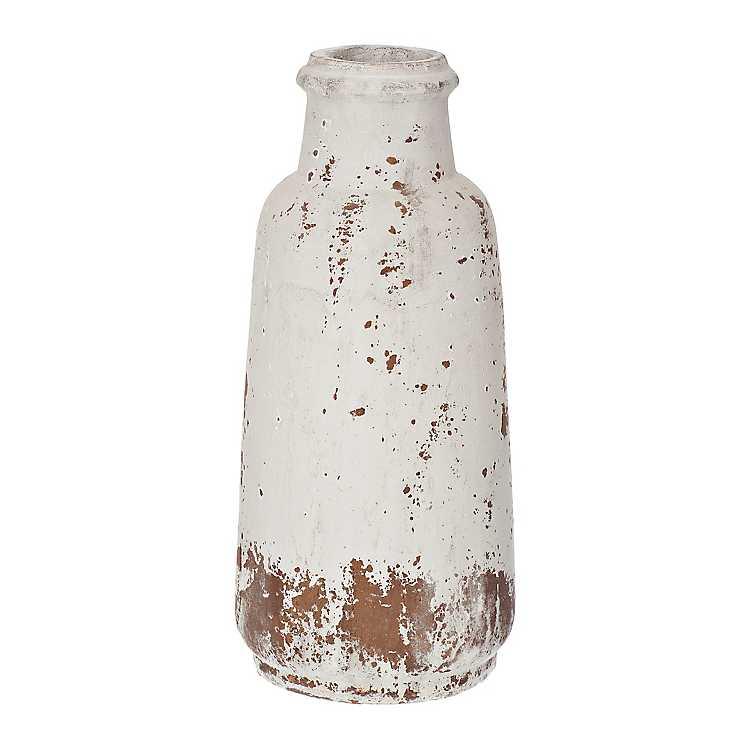 Distressed White Ceramic Vase 15 In Kirklands