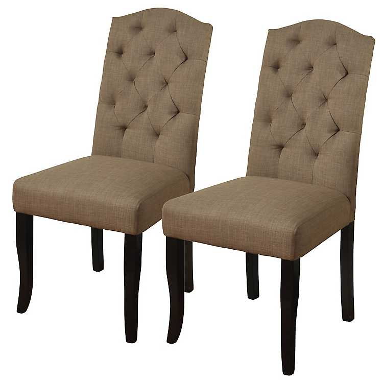 Beige Linen Tufted Back Parsons Chairs, ...