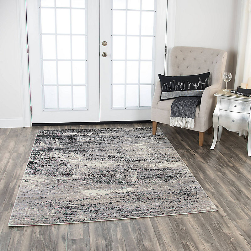 Brown Gray Edward Abstract Scales Area Rug, 5x7