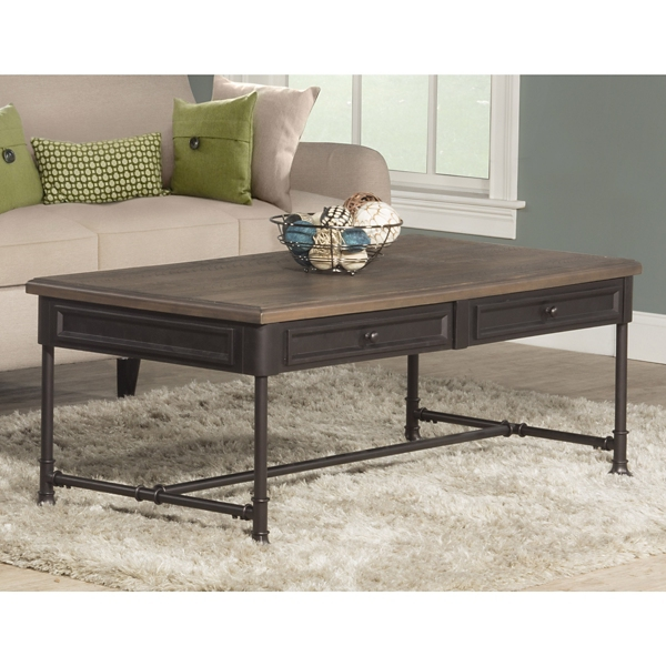 Sierra Distressed Wood and Metal Coffee Table Kirklands