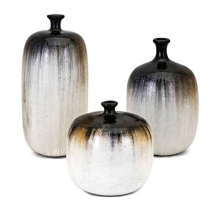 Neutral Drip Glaze Clay Vases Set Of 3 Kirklands