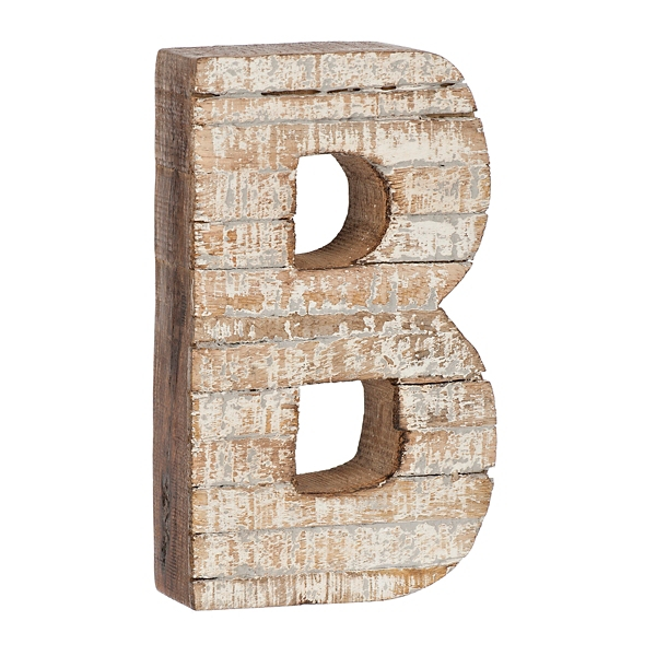 Whitewashed Wood B Block Letter | Kirklands