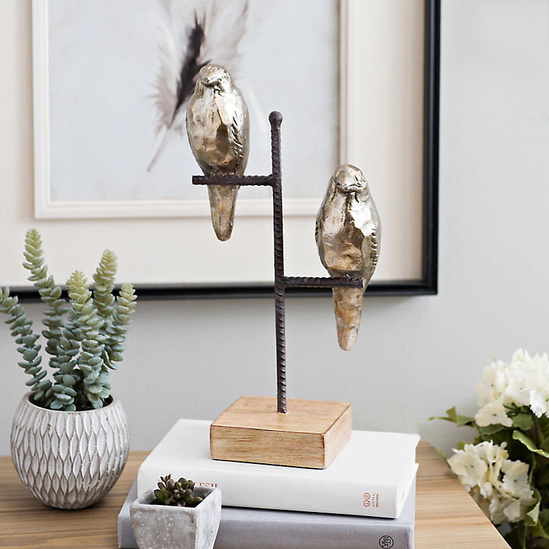 Metallic Perched Birds Statue
