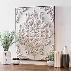 White Embossed Baroque Metal Wall Plaque