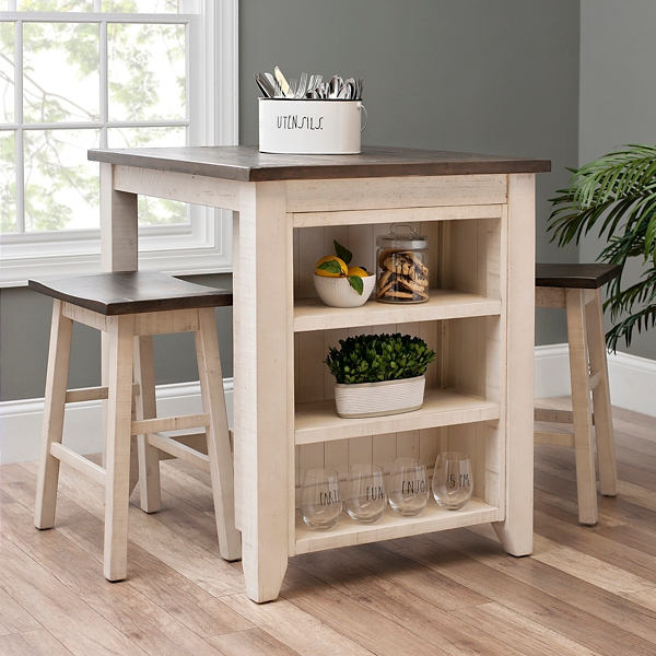 White 3-Piece Franklin Kitchen Island and Stools Set