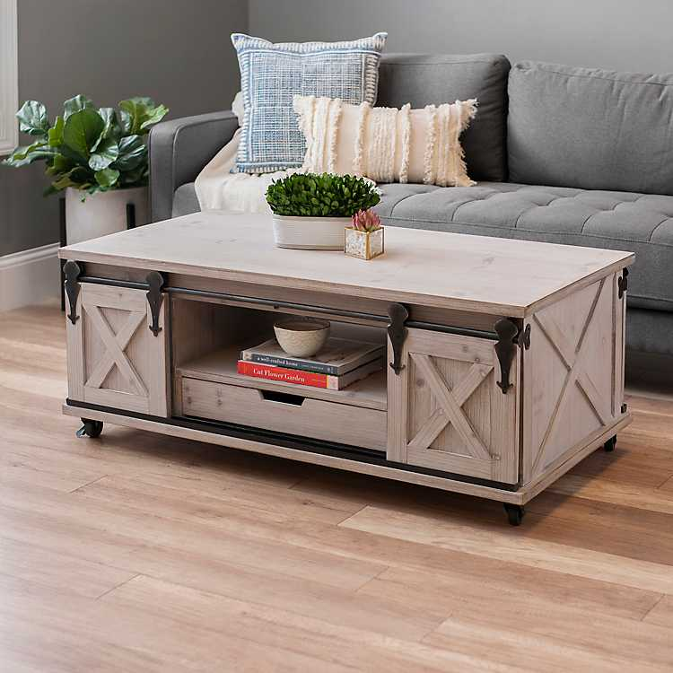 Product Details Gray Finished Farmhouse Sliding Door Coffee Table