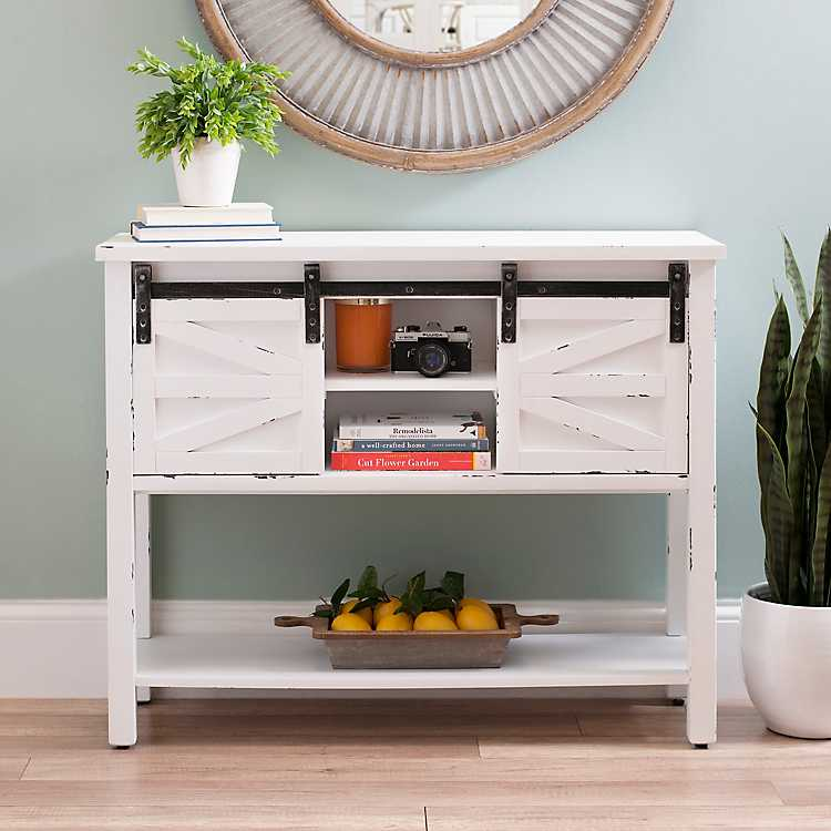 Product Details. Farmhouse Sliding Barn Door White Console Table