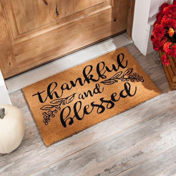 19a7b816522d4 Thankful and Blessed Fall Doormat | Kirklands
