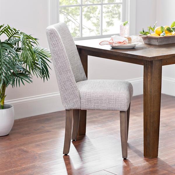 Wing Back Gray Herringbone Dining Chair