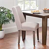 Taupe Gray Linen Wingback Dining Chair