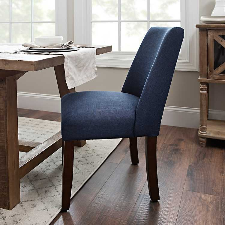 Navy Linen Wingback Dining Chair