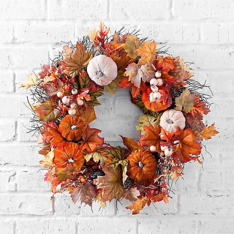 Velvet Pumpkin and Leaf Fall Wreath   Kirklands