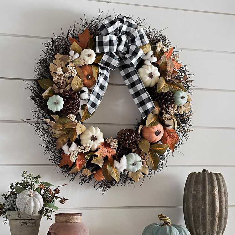 Buffalo Check Bow and Pumpkin Fall Wreath   Kirklands