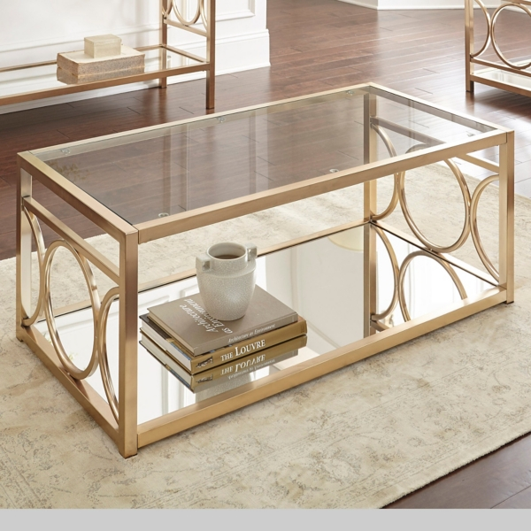 Olympia Gold Chrome Coffee Table Kirklands