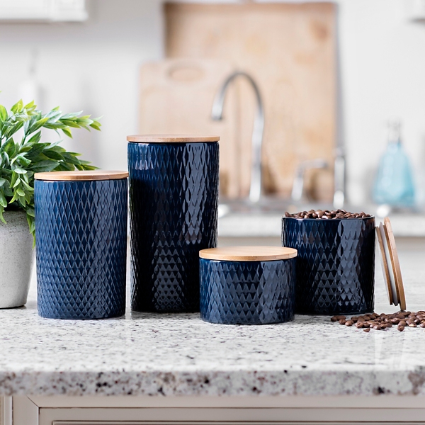 Set of 4 Navy Embossed Diamond Ceramic Canisters