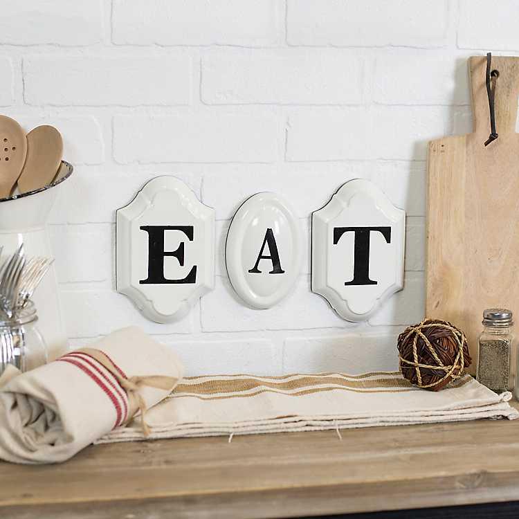 eat vintage metal letters wall signs