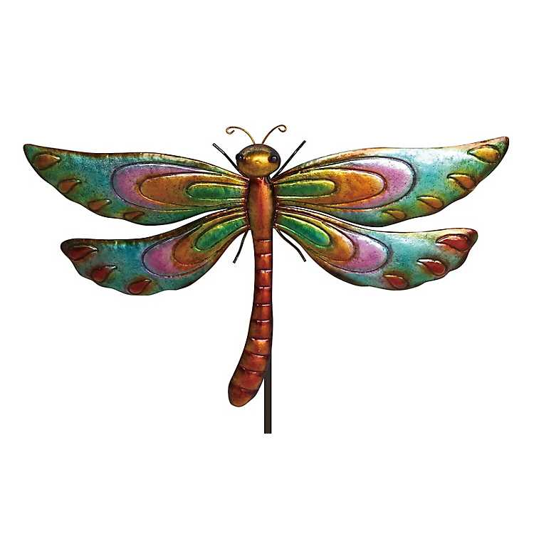 Multicolored Dragonfly Garden Stake ...