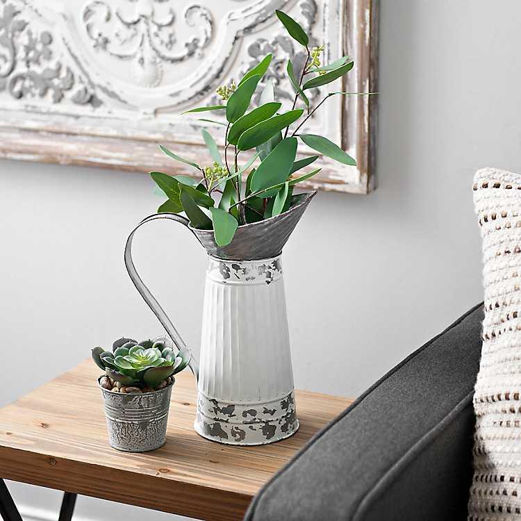 White Distressed Metal Pitcher Vase Kirklands