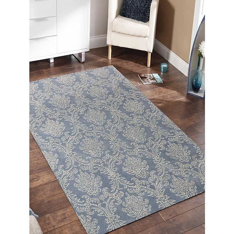 Blue French Toile Trellis Area Rug