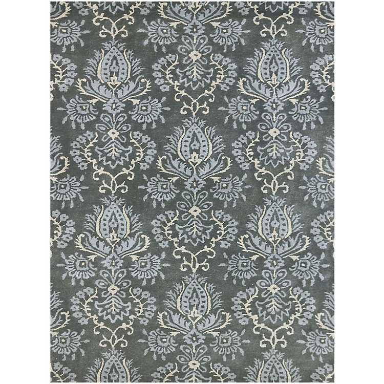 Blue And Gray Damask Area Rug 8x10
