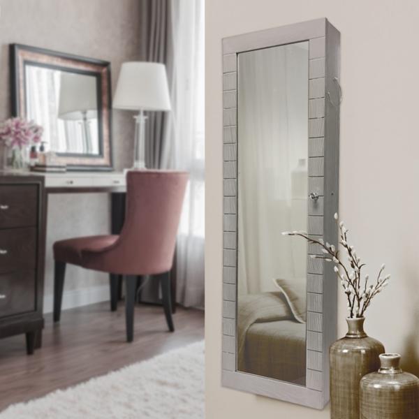 Brown Beadboard Armoire Mirror