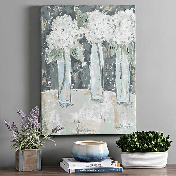 Hydrangea Vase Trio Canvas Art Print Kirklands