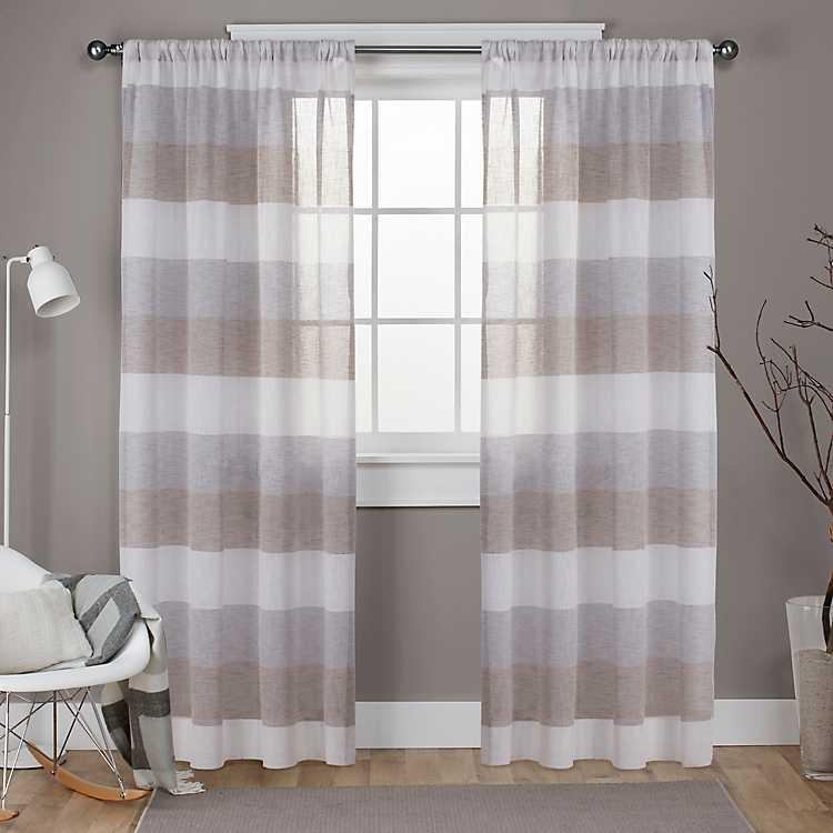 Cafe Bern Sheer Stripe Curtain Panel Set 108 In