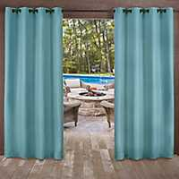 Teal Delano Outdoor Curtain Panel Set