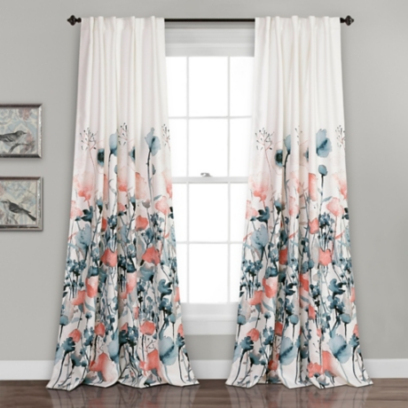Zoe Floral Blue Coral Curtain Panel Set 84 In