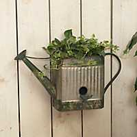 Hanging Metal Watering Can Birdhouse and Planter