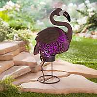 Solar LED Metal with Pink Light Flamingo Figurine