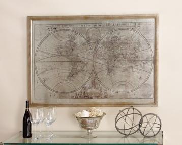 World map wood framed art print kirklands gumiabroncs Choice Image