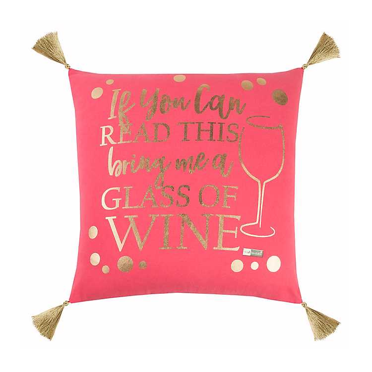 dfc7d3635 Product Details Pink and Gold Wine Simply Southern Pillow