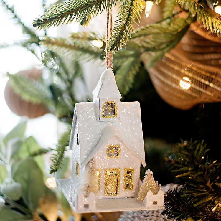 Pre-Lit White and Gold House Ornament | Kirklands