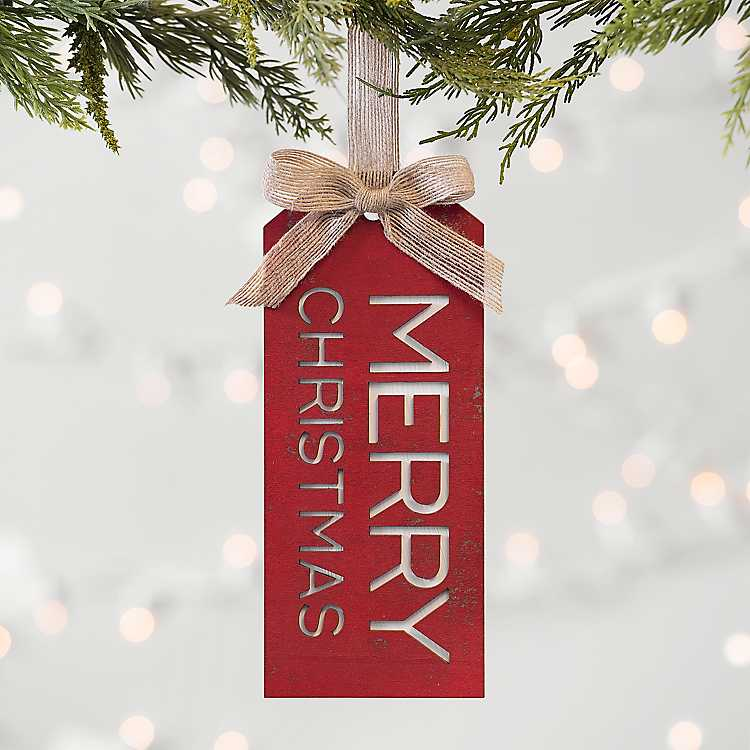 Red and Burlap Merry Christmas Tag Ornament | Kirklands