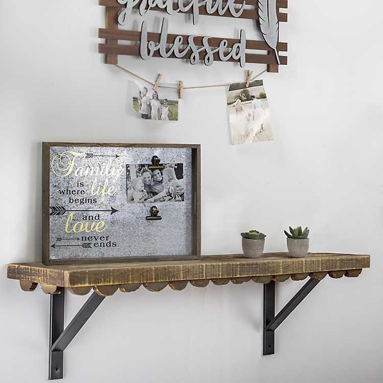Scalloped Rustic Wood Wall Shelf 35 In