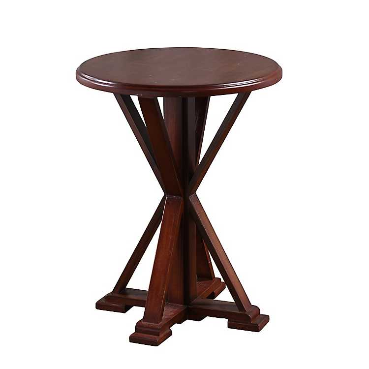 Superbe Preston Wood Pedestal Accent Table ...
