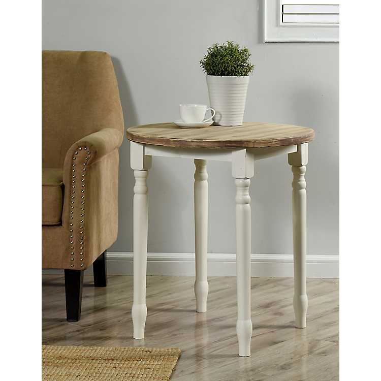 Farmhouse Wood Top Accent Table with White Legs