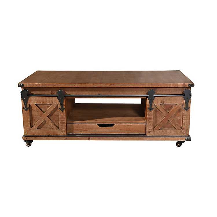 Rustic Fir Wood Rolling Barn Door Coffee Table Kirklands