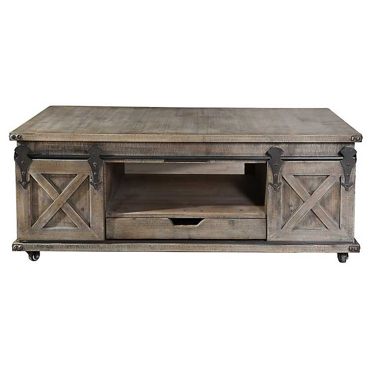 Rustic Gray Wood Rolling Barn Door Coffee Table ...