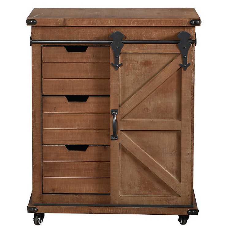 Rustic Natural Fir Wood Rolling Barn Door Cabinet Kirklands