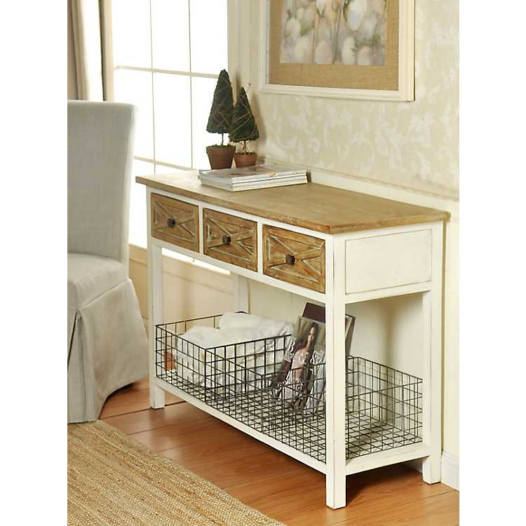 Fine Natural Top 3 Drawer Wire Basket Console Table Alphanode Cool Chair Designs And Ideas Alphanodeonline