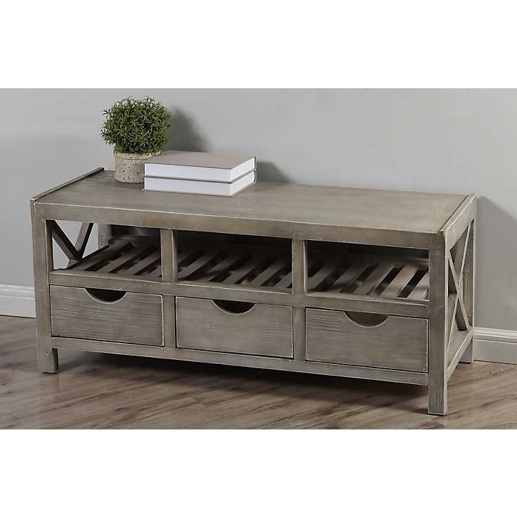 Beadboard 3 Drawer Light Gray Storage Bench ...