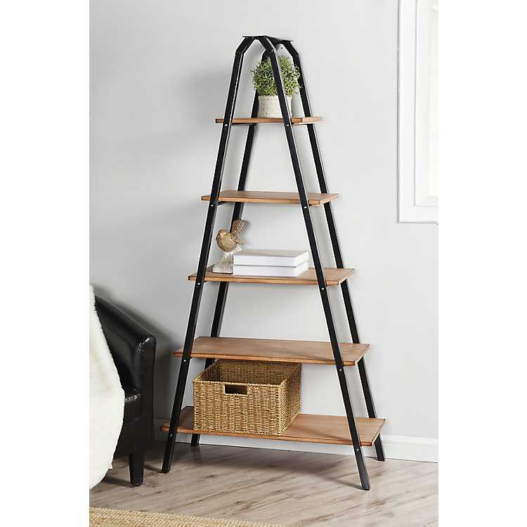 Five Tier Metal Frame Ladder Bookshelf