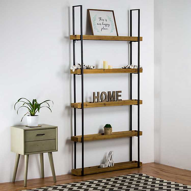 Rustic Wood With Metal Frame Five Level